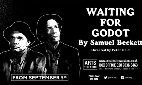 Patrick O'Donnell plays Gogo and Paul Elliot plays Lucky at The Arts Theatre, London